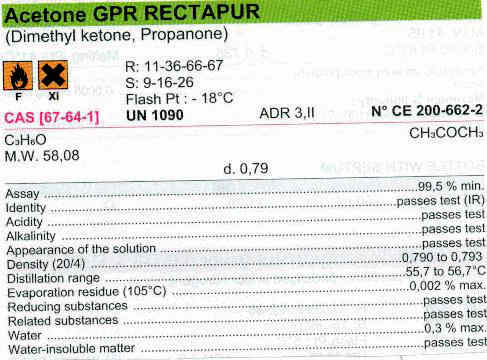 Craig International - Acetone GPR Rectapur Plastic Bottle 2 5L